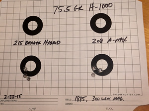 208 A-Max and 215 Berger Hybrid three shot groups from 300 win mag Model 1885