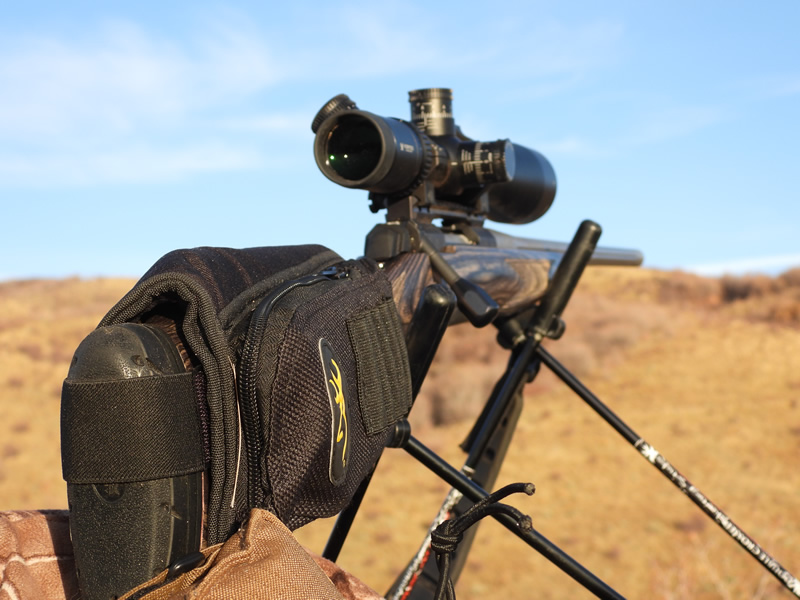 X-Bolt Gray Laminate Long Range in 28 Nosler and High and Heavy Outdoors Shooting Sticks.
